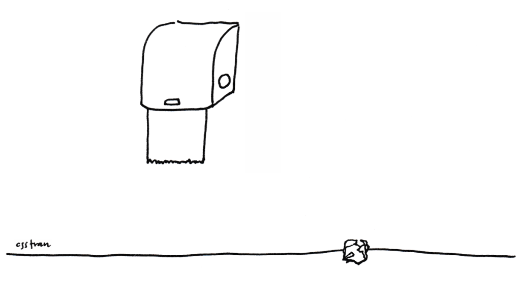 illustration of a paper towel dispenser and one crumpled paper towel on the floor