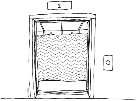 illustration of open elevator doors with padded blanket hanging on the farthest wall