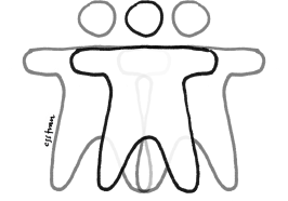 illustration of two overlapping silhouettes combining into one silhouette