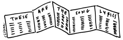 illustration of unfolded CD accordion booklet of lyrics