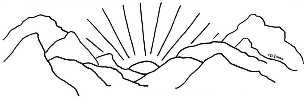 illustration of sun either rising or setting behind mountains
