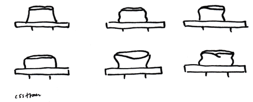 illustration of six bowls, each on a potters wheel, each shaped differently