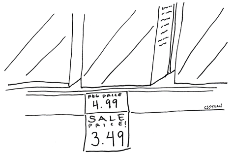 illustration of grocery store shelf with regular price tag and sale price sticker