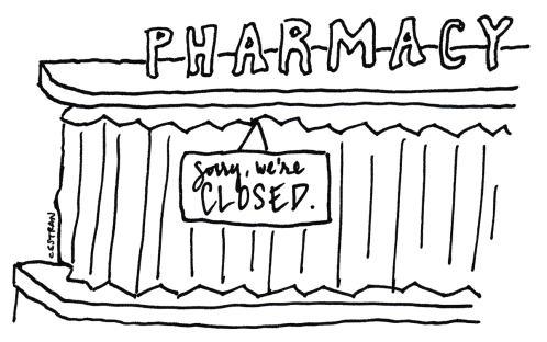 illustration of shuttered pharmacy counter with sorry we're closed sign posted