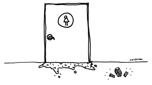 illustration of girls bathroom, door closed, vomit oozing out of threshold, pack of striped gum to the right of the door