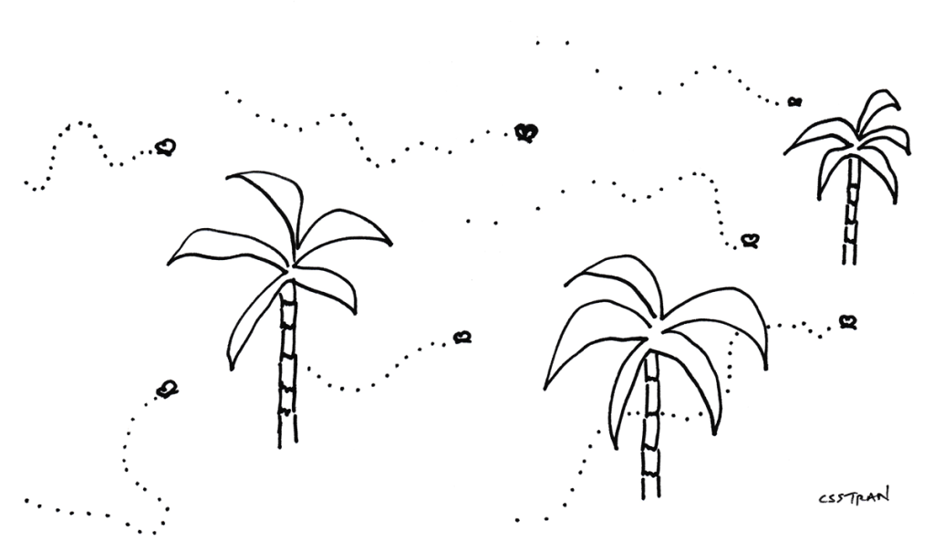 illustration of palm trees and butterflies