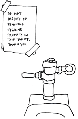 illustration of public toilet and sign taped to wall with note: do not dispose of feminine hygiene products in the toilet. thank you.
