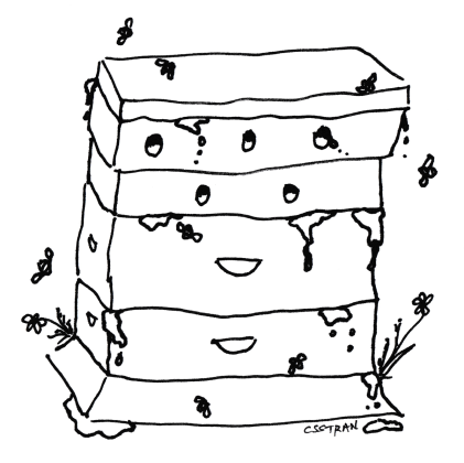 illustration of a man-made beehive with honey leaking out and bees flying around