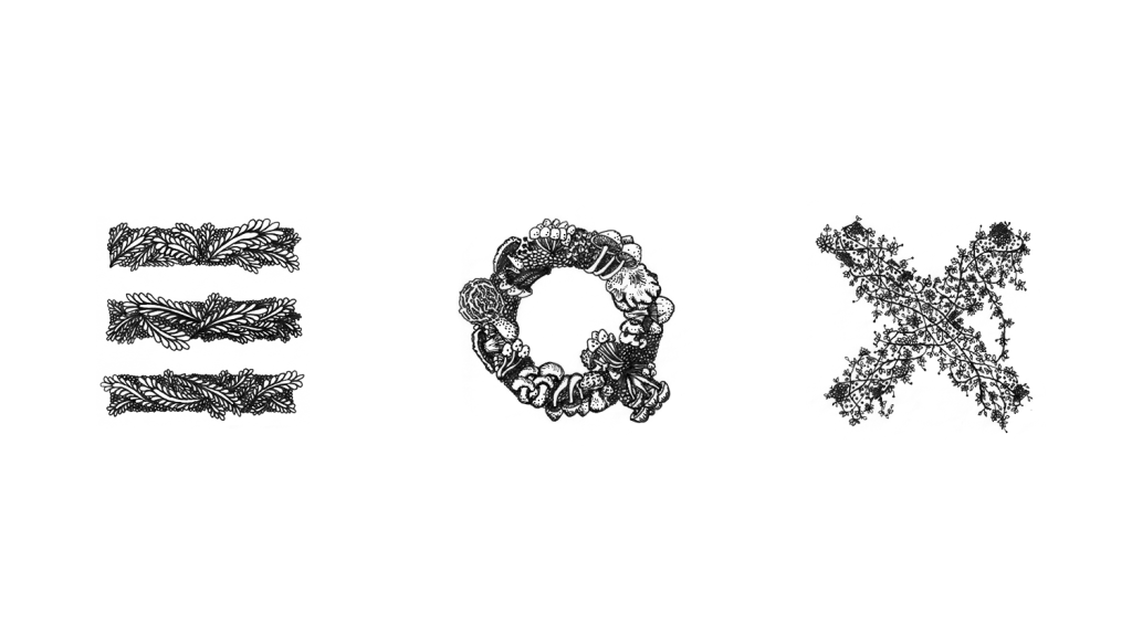 letters E Q X spaced apart with nature patterns overlaying each letter, leaves over E, mushrooms over Q and fine floral vines over X