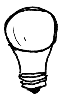 Second of four light bulbs in a row traditional-shaped LED bulb with plastic base
