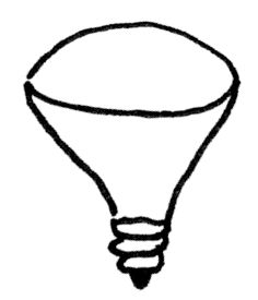 Third of four light bulbs in a row cone-shaped outdoor bulb