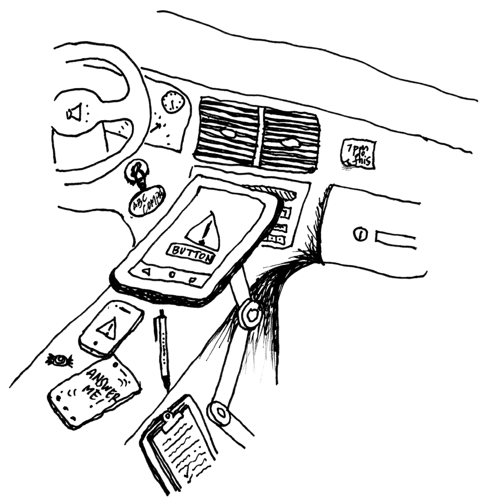 Tow truck dashboard and center console with multiple devices such as phones and a tablet, clipboard of paper, sticky notes