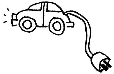 Small car with an electric cord hanging from rear bumper like a mouse's tail