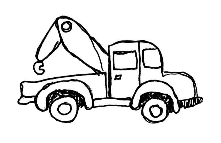 Sixties style tow truck with bubble fenders and a tow hook on an arm with one joint